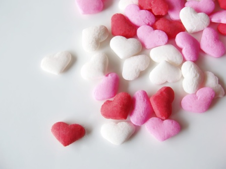 pink, white and red candied heart sprinkles